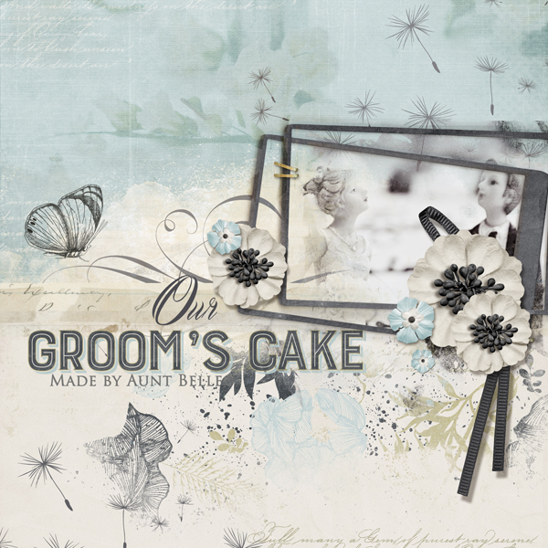 """Groom's Cake"" digital scrapbooking layout by Brandy Murry"