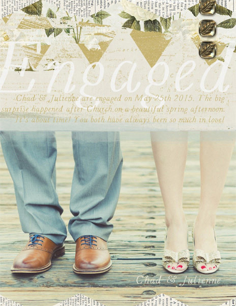 """Engaged"" digital scrapbooking layout by Brandy Murry"