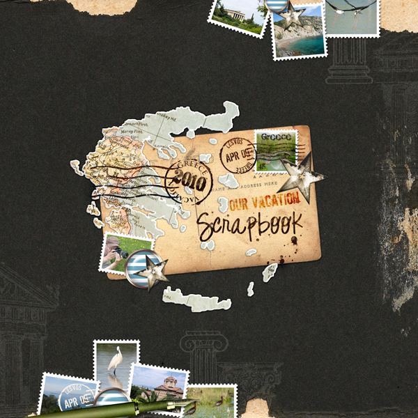 Greece layout by Brandy Murry. See below for links to all products used in this digital scrapbooking layout.