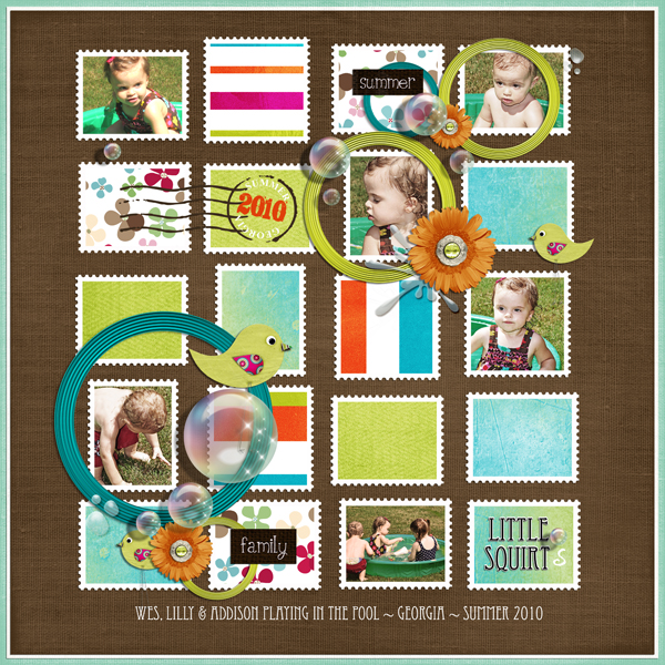 Little Squirts layout by Brandy Murry. See below for links to all products used in this digital scrapbooking layout.