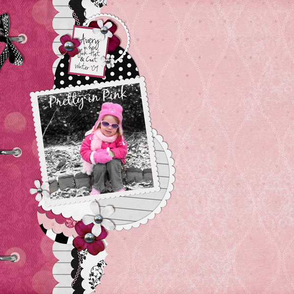 Pretty in Pink layout by Brandy Murry. See below for links to all products used in this digital scrapbooking layout.
