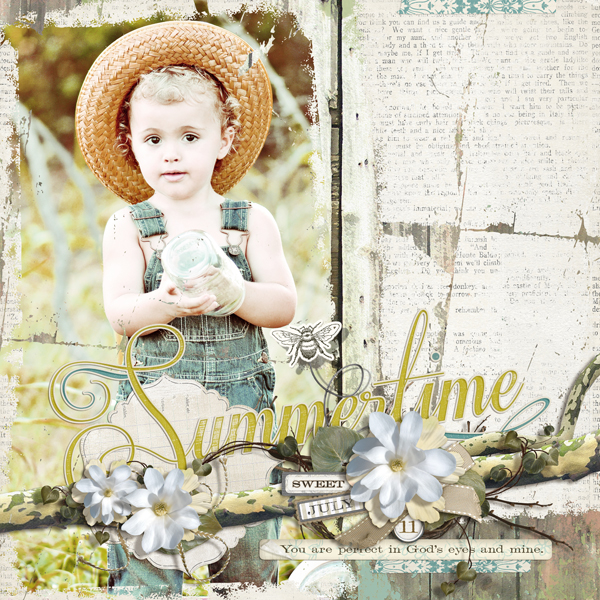 �Wes in Summertime� layout by Brandy Murry. See below for links to all products used in this digital scrapbooking layout.