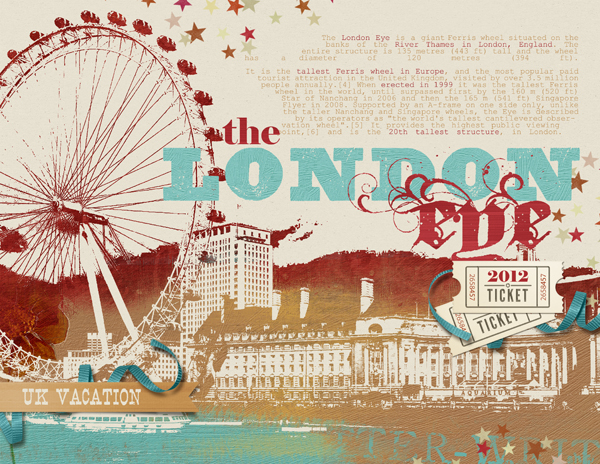 """London Eye"" digital scrapbooking layout by Brandy Murry."