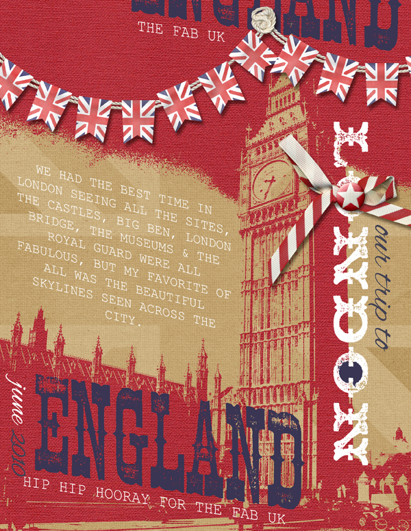 """""""Our Trip to London"""" digital scrapbooking layout by Brandy Murry."""