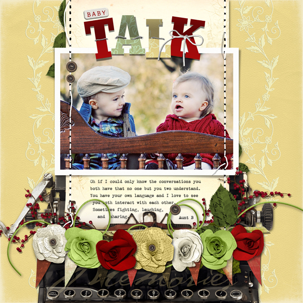 Baby Talk layout by Brandy Murry. See below for links to all products used in this digital scrapbooking layout.