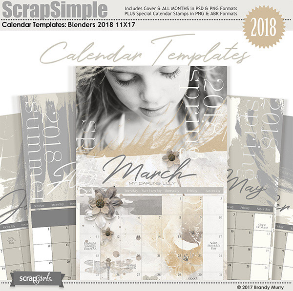 ScrapSimple Calendar Templates: 11x17 Blenders 2018 by Brandy ...