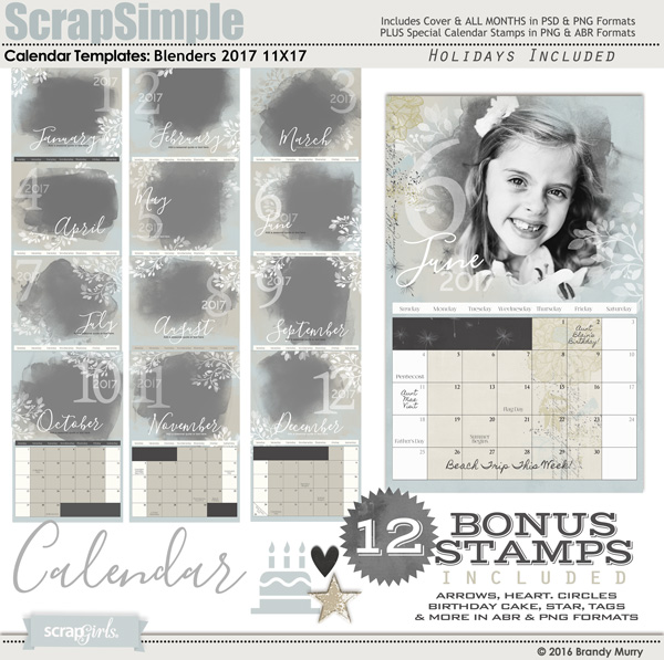 ScrapSimple Calendar Template Blenders 2017
