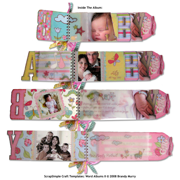 Sample by Caroline Kaiser uses: SS Craft Tmplt: Word Albums II, Bouncing Baby Girl Col, Newborn Col, SS Emb:Journal Strips, SS ToolsActions: Photo Basics, SS Tools Sty:Inked Edges, SS Tools Sty:Frosted Glass, SS Tools Sty:Glitter Brights & LD Warm Hea