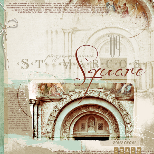 """St. Marco's Square"" digital scrapbooking layout by Brandy Murry. See below for links to all products used in this digital scrapbooking layout."