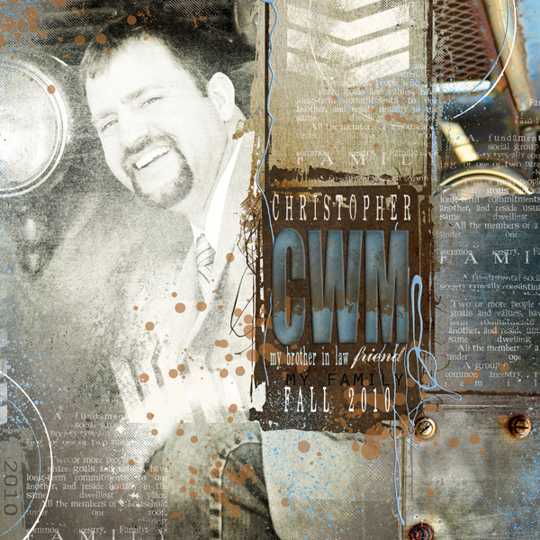 """Chris"" digital scrapbooking layout by Brandy Murry. See below for links to all products used in this digital scrapbooking layout."