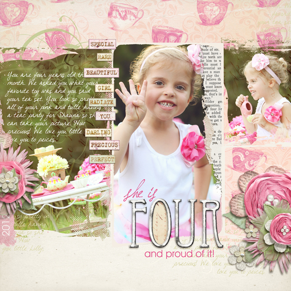 """Four and Proud"" digital scrapbooking layout by Brandy Murry. See below for links to all products used in this digital scrapbooking layout."
