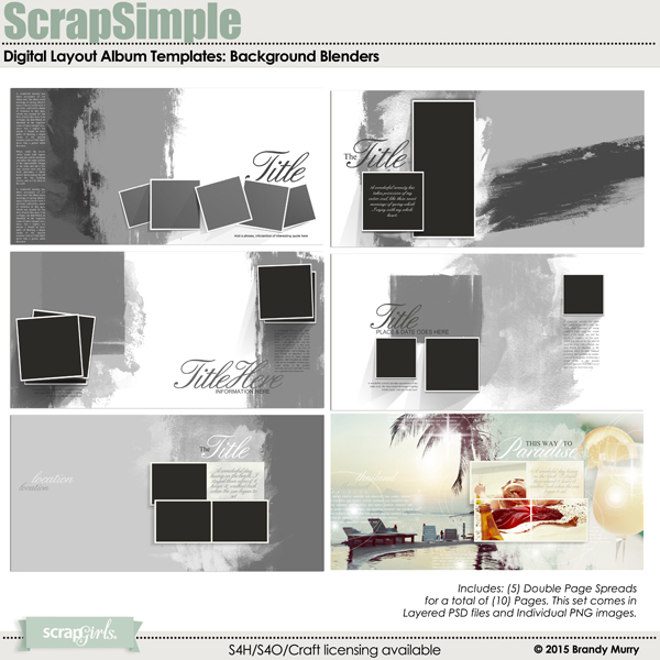 ScrapSimple Digital Layout Album Templates: Background Blenders