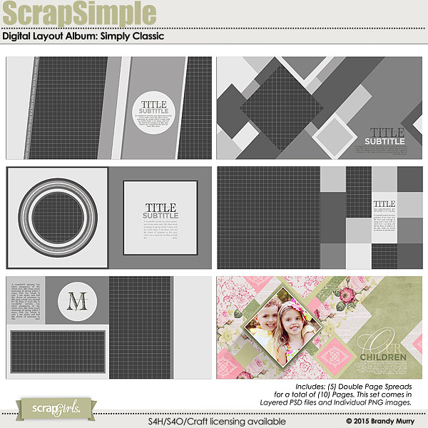 ScrapSimple Digital Layout Album: Simply Classic