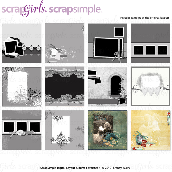 "Also Available: <a href=""http://store.scrapgirls.com/product/20519/"">ScrapSimple Digital Layout Album Templates: 12x12 Favorites 1 </a> (Sold Separately)"