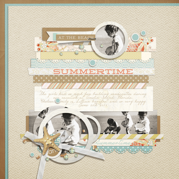 """Summertime"" digital scrapbooking layout by Brandy Murry"