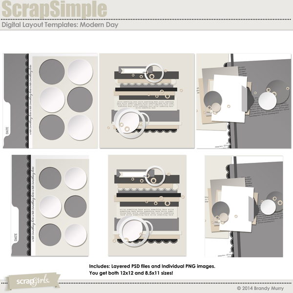 ScrapSimple Digital Layout Templates: Modern Day