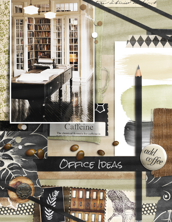 """Office Ideas"" Mood Board scrapbook layout by Brandy Murry"