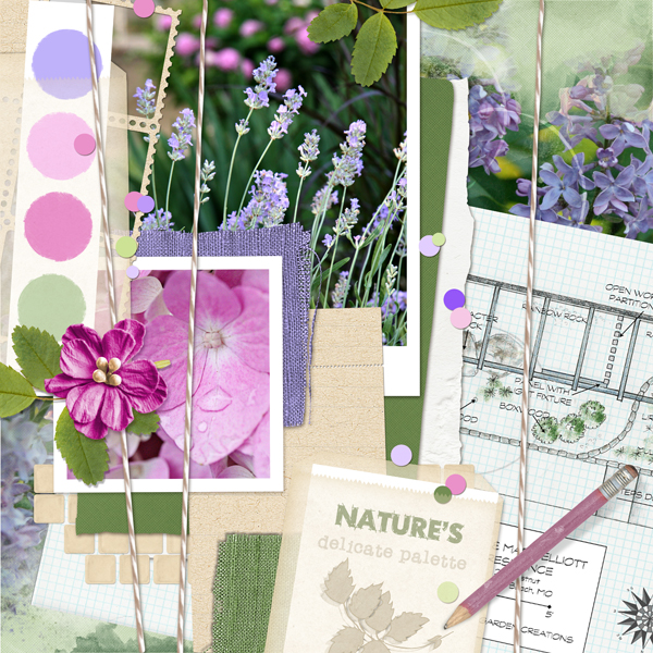 """Garden Planning"" Mood Board scrapbook layout by Joyce Schardt"