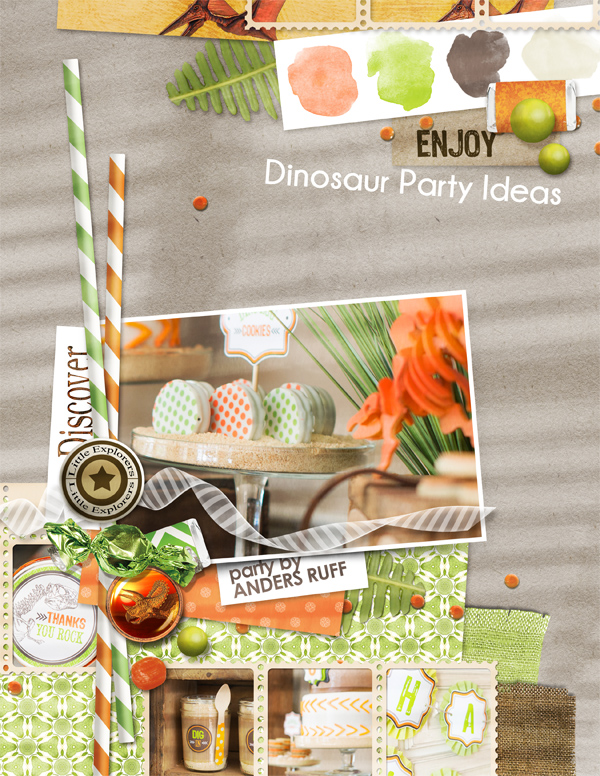"""Dinosaur Party"" scrapbook layout by Brandy Murry"