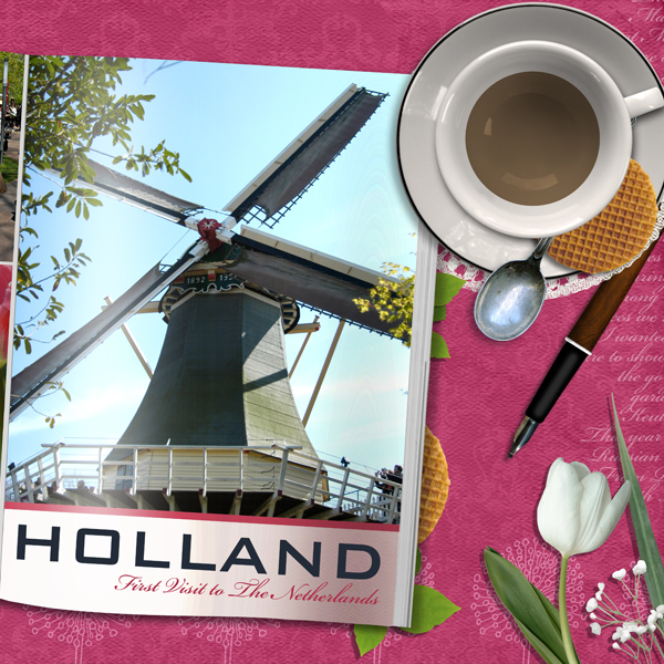 Holland layout by Brandy Murry. See below for links to all products used in this digital scrapbooking layout.