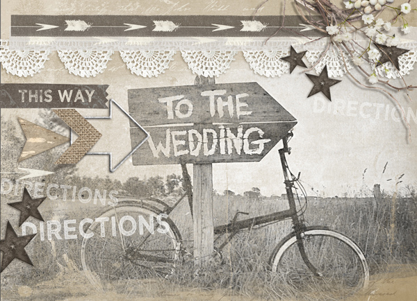 """Directions"" digital scrapbooking wedding layout by Brandy Murry"