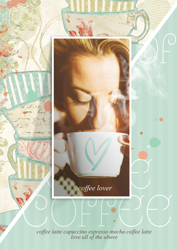 """Coffee"" digital scrapbooking layout by Brandy Murry"