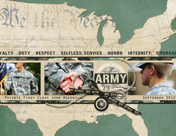 <p>Army layout by Brandy Murry. See below for links to all products used in this digital scrapbooking layout.</p>