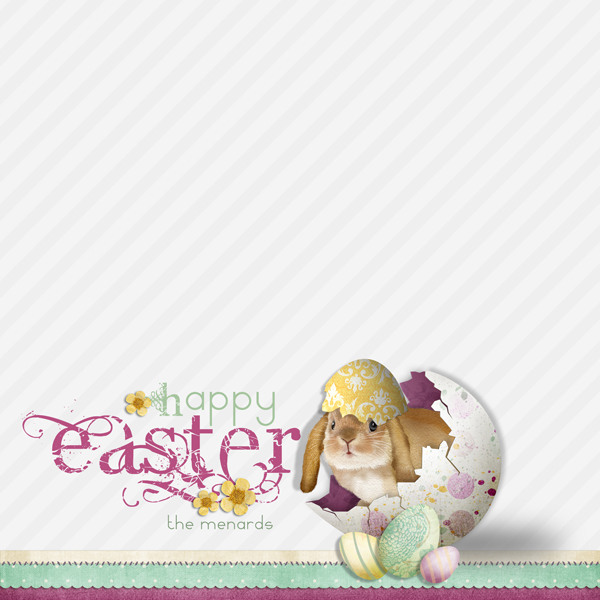 �Happy Easter� card sample by Brandy Murry. See below for links to all products used in this digital scrapbooking layout.