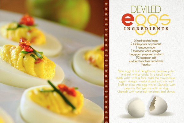 �Deviled Eggs� recipe card by Brandy Murry. See below for links to all products used in this digital scrapbooking layout.