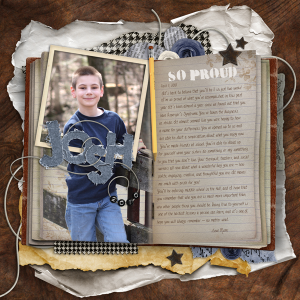 Josh layout by Brandy Murry. See below for description and links to all products used in this digital scrapbooking layout.