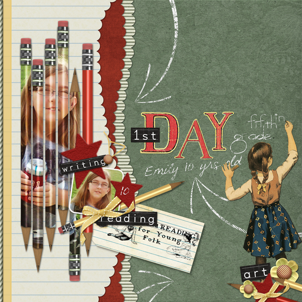 First Day layout by Brandy Murry. See below for links to all products used in this digital scrapbooking layout.