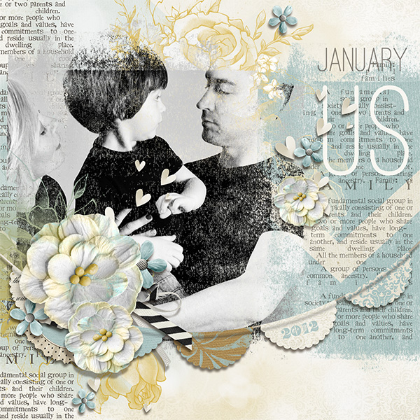 """US"" digital scrapbooking layout by Brandy Murry."