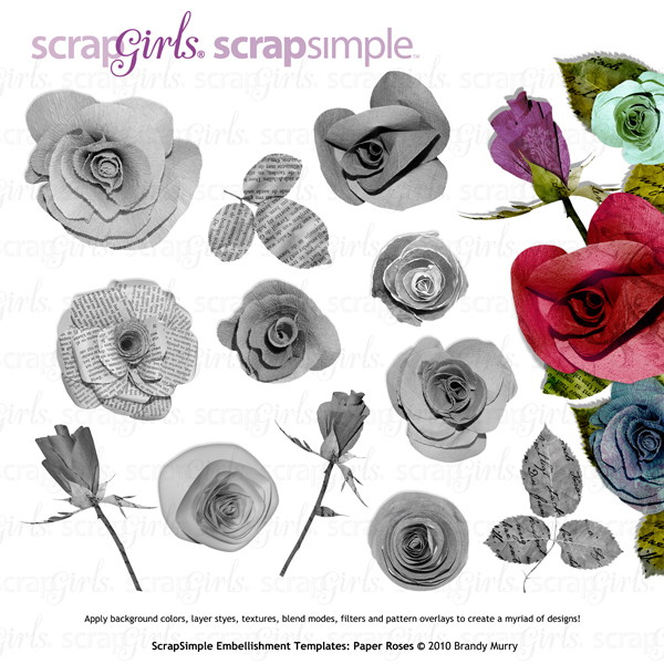 Also Available: ScrapSimple Embellishment Templates: Paper Roses - Commercial License (Sold Separately)