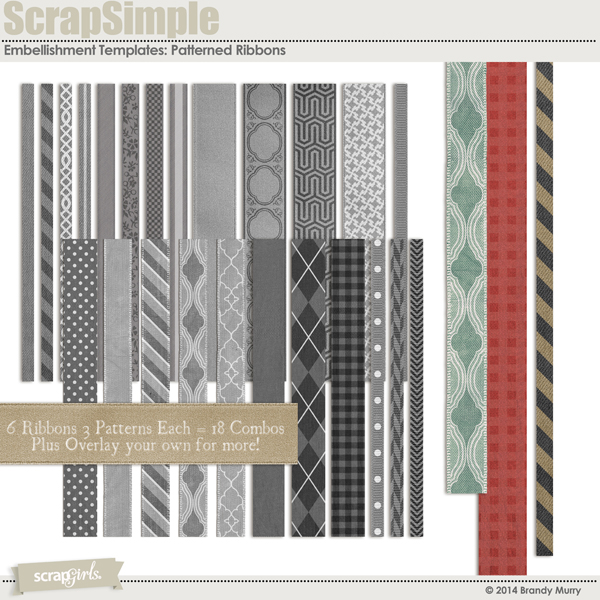 ScrapSimple Embellishment Templates: Patterned Ribbons