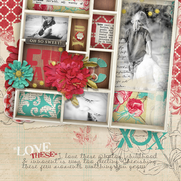 """Printer Drawer"" digital scrapbooking layout by Brandy Murry"