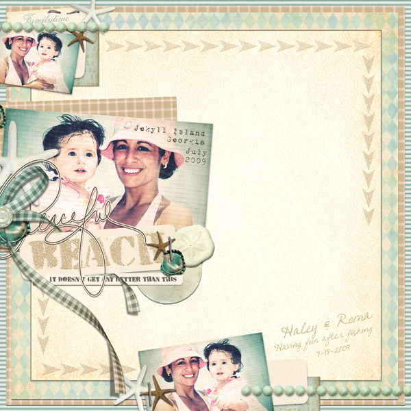 Beach layout by Brandy Murry. See below for links to all products used in this digital scrapbooking layout.