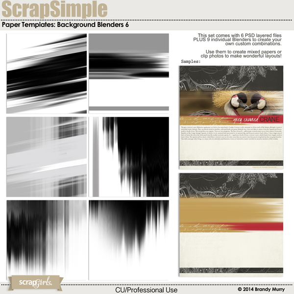 Also Available: ScrapSimple Paper Templates: Background Blenders 6 - Commercial License (Sold Separately)