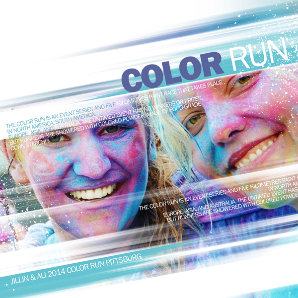 """Color Run"" digital scrapbooking layout by Brandy Murry"