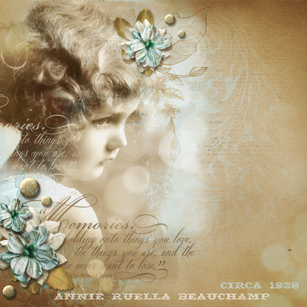 """Annie"" digital scrapbooking layout by Brandy Murry."