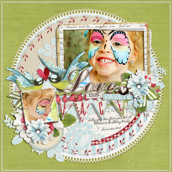 �Love this Sweet Face� layout by Brandy Murry. See below for links to all products used in this digital scrapbooking layout.
