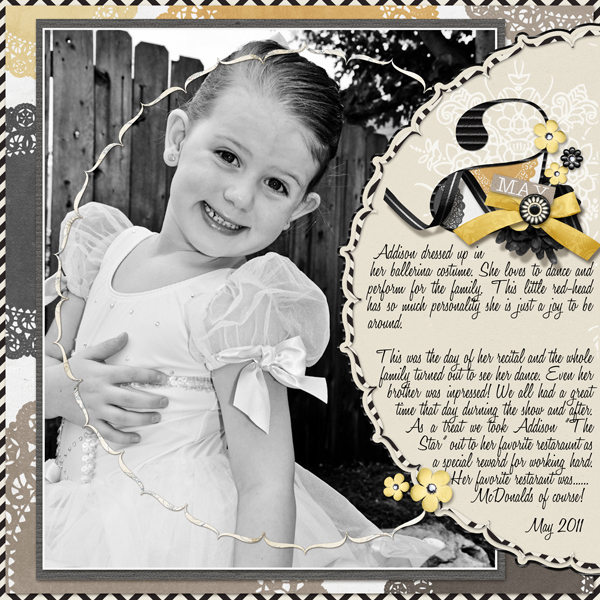 �Addison's Recital� layout by Brandy Murry. See below for links to all products used in this digital scrapbooking layout.