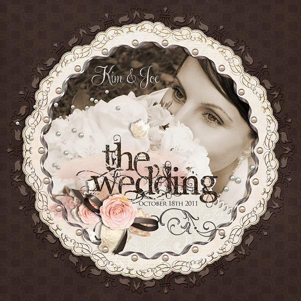 The Wedding layout by Brandy Murry. See below for links to all products used in this digital scrapbooking layout.