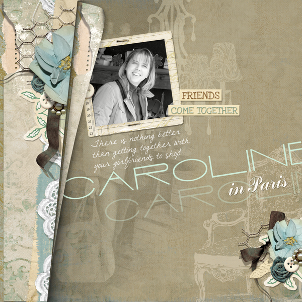 Caroline in Paris layout by Brandy Murry. See below for links to all products used in this digital scrapbooking layout.