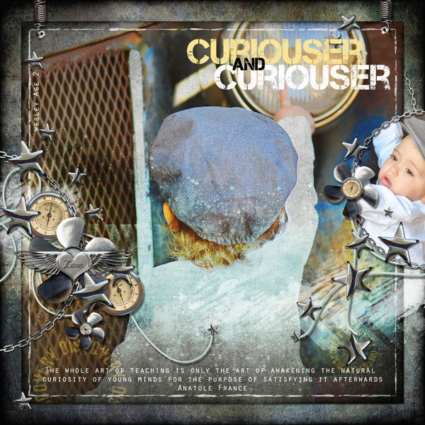 Curious Wes layout by Brandy Murry. See below for links to all products used in this digital scrapbooking layout.