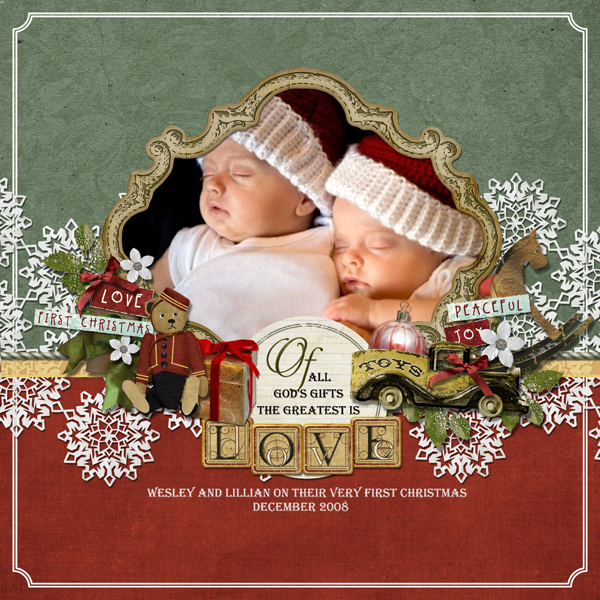 First Christmas layout by Brandy Murry. See below for links to all products used in this digital scrapbooking layout.