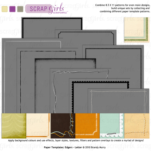 Also Available: ScrapSimple Paper Templates: Edgers - Letter Biggie (8.5 x 11) (Sold Separately)