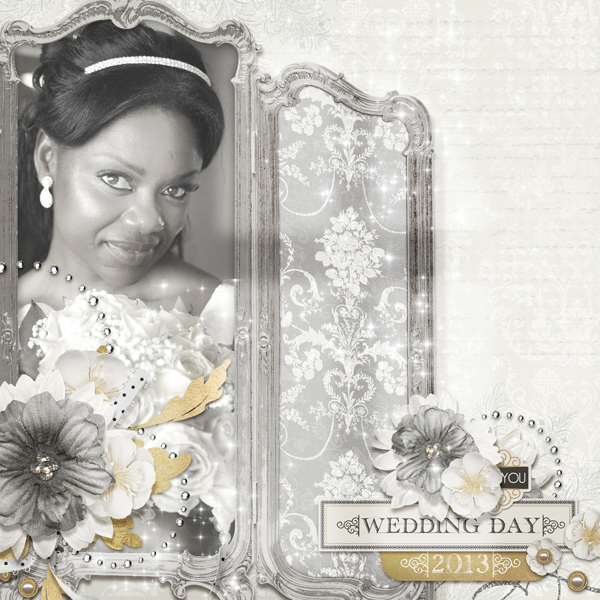 """Wedding Day"" layout by Brandy Murry. See below for layout details."