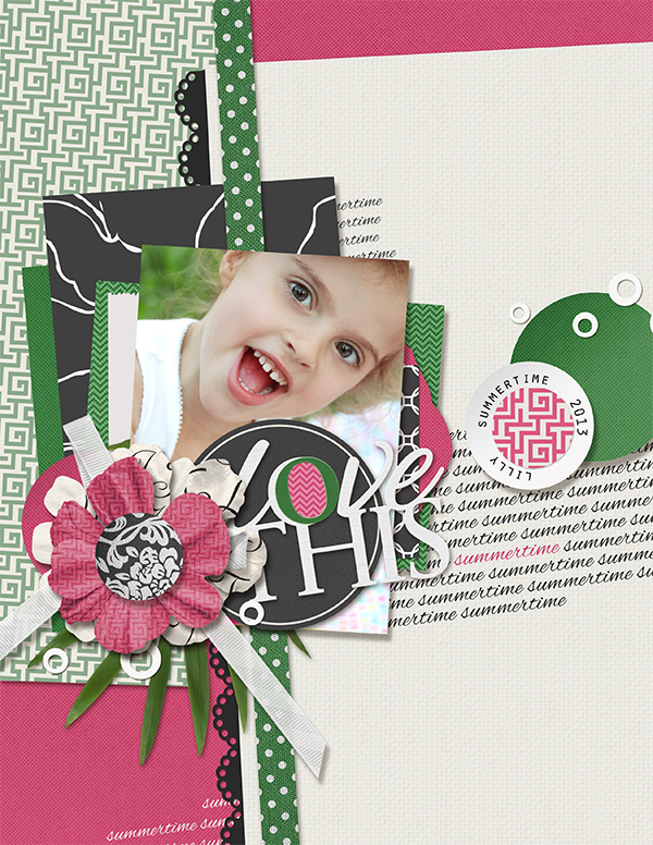 """Love This"" digital scrapbooking layout by Brandy Murry"