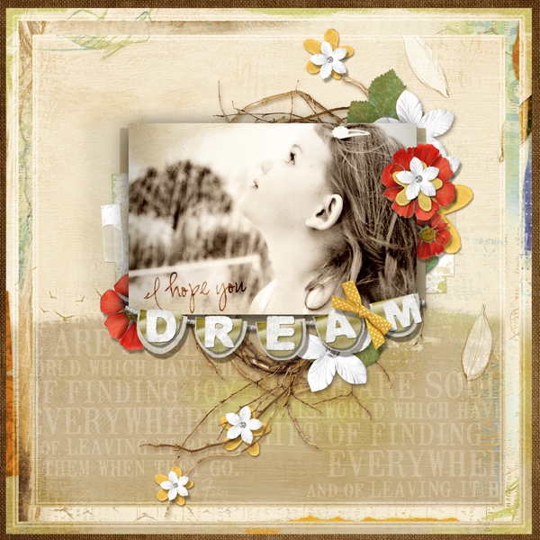 """""""I Hope You Dream"""" layout by Brandy Murry. See below for links to all products used in this digital scrapbooking layout."""