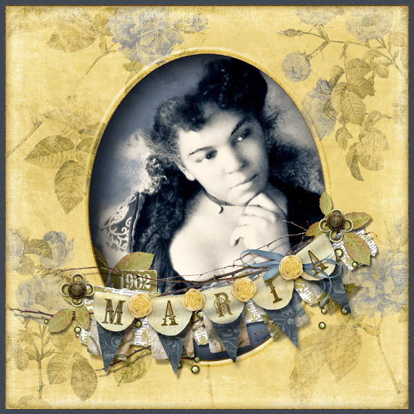 """""""Maria"""" layout by Brandy Murry. See below for links to all products used in this digital scrapbooking layout."""